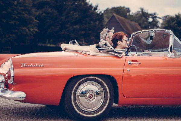 Danville, CA retired couple in a classic Thunderbird