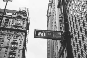 Wall Street sign in new york city financial district
