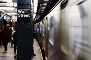 wall street sign in the new york subway